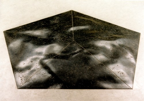 Sculpture in the center of school-building. Belgian blue stone pentagon, 208cm.xx
