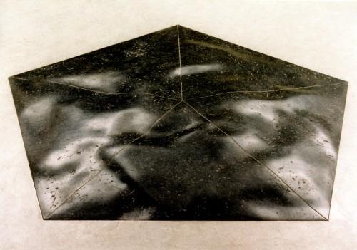 Sculpture in the center of school-building. Belgian blue stone pentagon, 208cm.xx